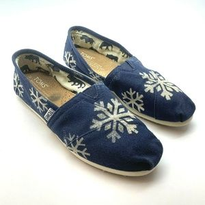 Toms Espadrille Flats Slip On Shoes Blue Snowflake